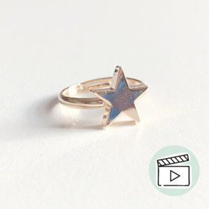 14kt Gold Plated 3D Star Focal Midi Fashion Ring